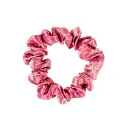 ALMANIA Scrunchie Mała jedwabna gumka do włosów Różowe kwiaty