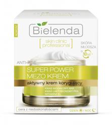 Bielenda Skin Clinic Professional Super Power Mezo Krem - Aktywny krem korygujący do twarzy na dzień i noc, 50 ml