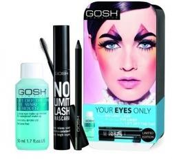 GOSH Zestaw podróżny do makijażu oczu: Płyn do demakijażu oczu + Maskara No Limit Lash + kredka Velvet Black Ink