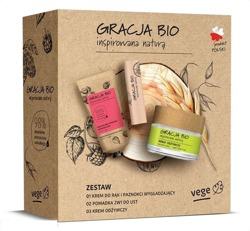 GRACJA BIO Zestaw Krem odżywczy do twarzy + Krem do rak i paznokci + Pomadka 2w1 do ust