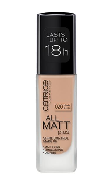 Catrice All Matt Plus Shine Control Make Up -  Podkład matujący 020 Nude Beige, 30 ml