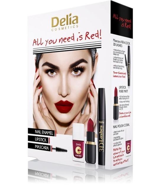 Delia ZESTAW All You Need Is Red Tusz+Pomadka+Lakier