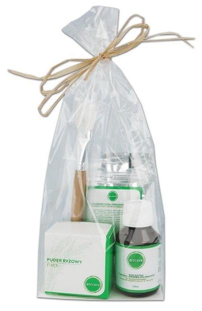Ecocera Zestaw prezentowy 6 Maseczka z węglem aktywnym + Koncentrat z miedzią i srebrem + Pędzel do aplikacji + Sypki puder ryżowy