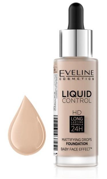 Eveline Liquid Control HD Matujący podkład do twarzy 020 Rose Beige 32ml
