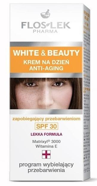 FlosLek White&Beauty Krem na dzień Anti-aging zapobiegający przebarwieniom SPF30 30ml
