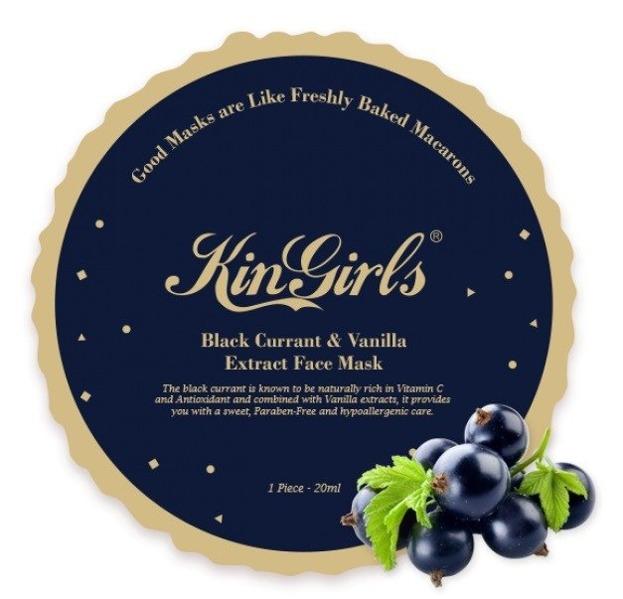 Kin Girls Macarons Black Currant&Vanilla Face Mask Antyoksydacyjno-rozświetlająca maseczka w płachcie