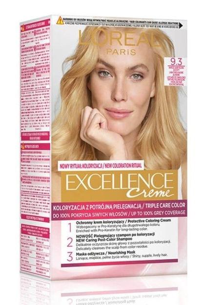 LOREAL EXCELLENCE CREME Farba do włosów 9.3 Bardzo jasny złocisty blond