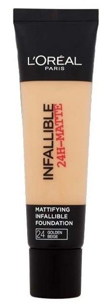 Loreal Infallible 24-Matte Mattifying Foundation - Długotrwały podkład matujący do twarzy 24 Golden Beige 35ml