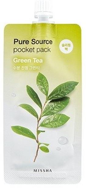 Missha Pure Source Pocket Pack GREEN TEA Oczyszczająco-łagodząca maseczka na noc 10ml