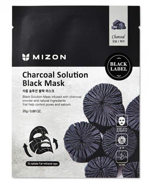 Mizon Black Mask Charcoal Solution Oczyszczająca czarna maska w płacie 25g