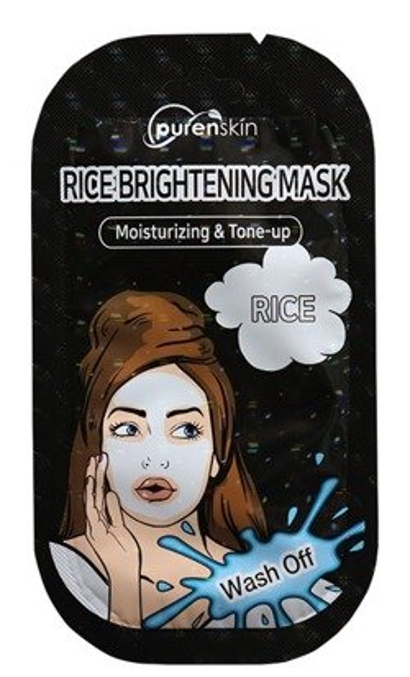 PurenSkin Rice Brightening Mask Rozjaśniająco-nawilżająca maska na bazie ryżu 10g