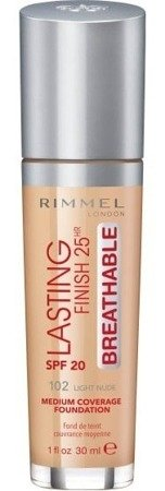 Rimmel Lasting Finish25h BREATHABLE Podkład do twarzy 102 Light Nude 30ml