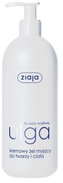 Ziaja ULGA Dla skóry wrażliwej, Kremowy żel myjący do twarzy i ciała, 400ml